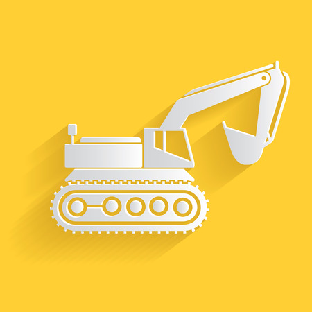 land development: Excavator symbol,clean vector