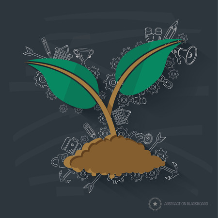 broad leaved tree: Growth concept design on blackboard background