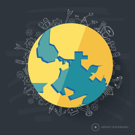 Globe symbol design on blackboard background Vector