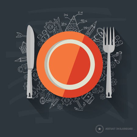 collation: Dish symbol design on blackboard background
