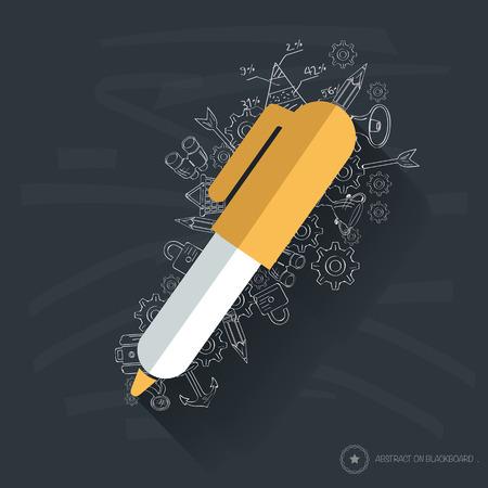 Pen symbol design on blackboard background Vector