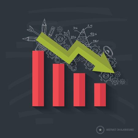 line graph: Graph down symbol design on blackboard background