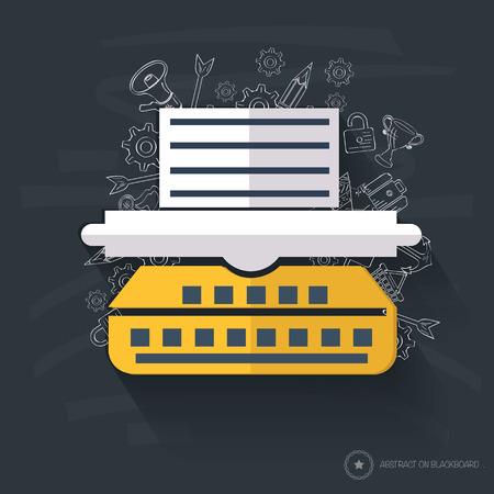 mfp: Printer design on blackboard background Illustration