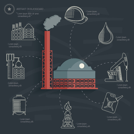 Factory concept on blackboard background Vector