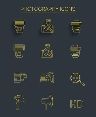 polarizing: Photography icons,clean vector Illustration