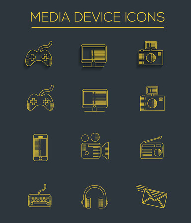 Media line icons Illustration