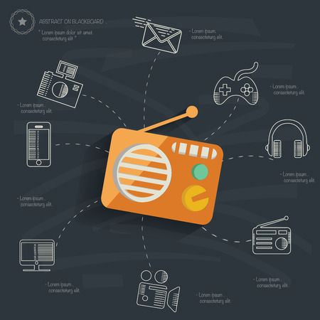 Media concept on blackboard background Vector