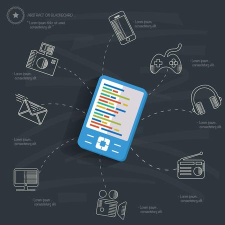 Mobile technology concept on blackboard background Vector
