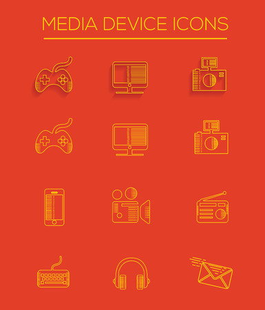 Media line icons Vector