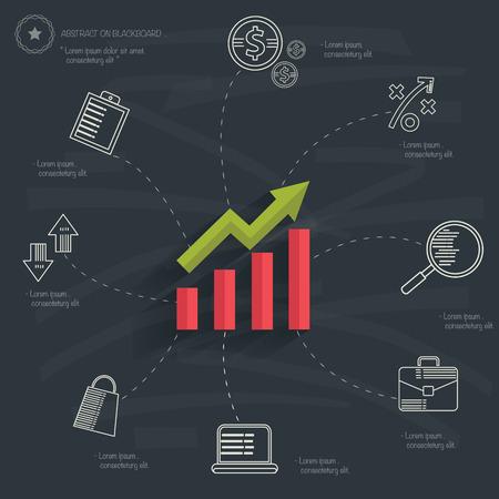 Business concept design on blackboard back Vector