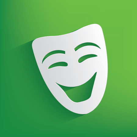 Smile mask symbol on green background,clean vector Vector