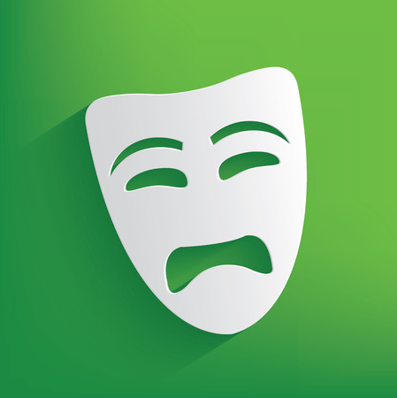 Sad mask symbol on green background,clean vector Vector