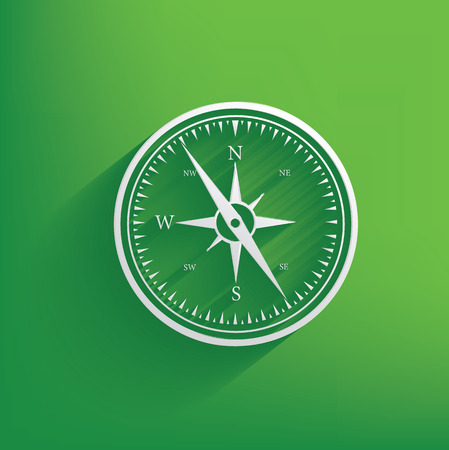 Compass symbol on green background,clean vector Illustration