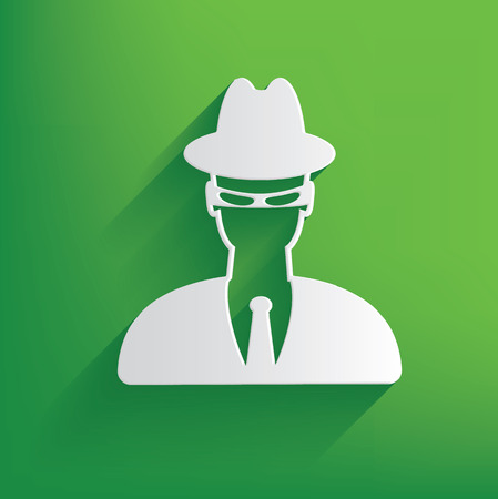 insidious: Spy symbol on green background,clean vector