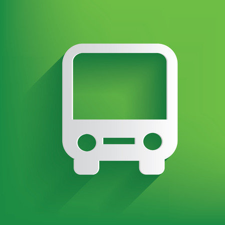 Bus symbol on green background,clean vector Vector