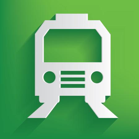 hovercraft: Train symbol on green background,clean vector Illustration