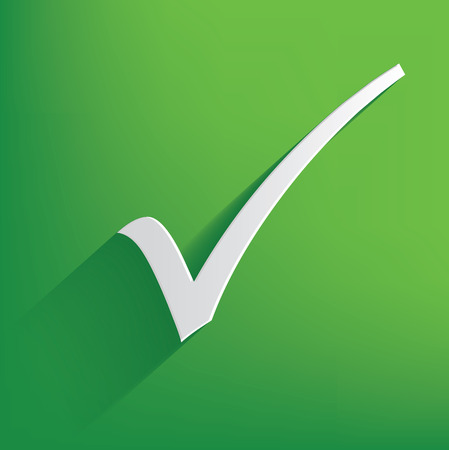 Check mark symbol on green background,clean vector Vector