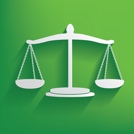 acquit: Justice symbol on green background,clean vector