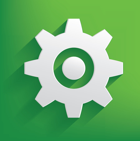 Gear symbol on green background,clean vector Vector
