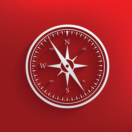 Compass design on red background,clean vector Vector