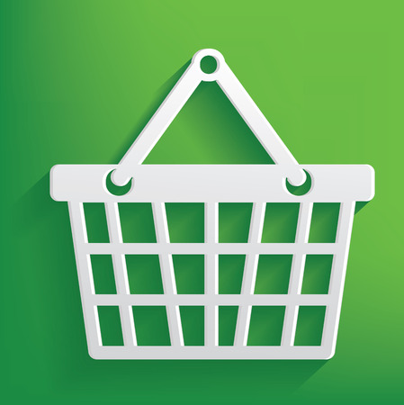 Basket symbol on green background,clean vector Vector
