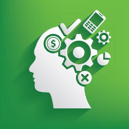 brain storm: Brain storm symbol on green background,clean vector Illustration