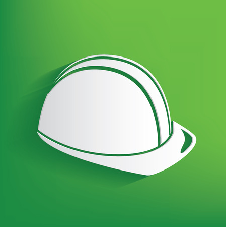 hard cap: Hat engineering symbol on green background,clean vector