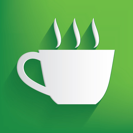 Coffee symbol on green background,clean vector Vector