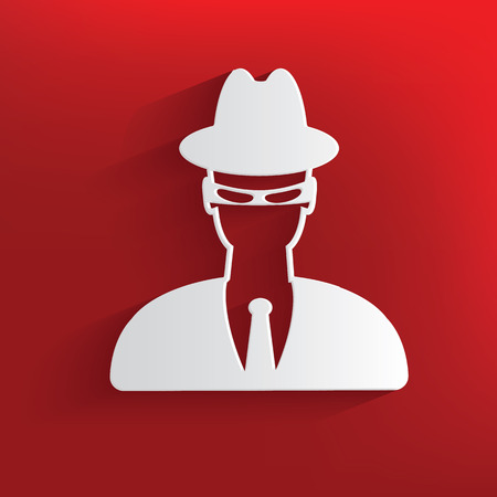 Spy design on red background,clean vector Vector