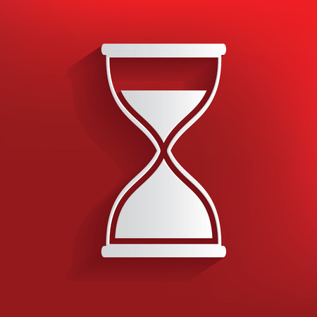 Hourglass design on red background,clean vector Vector