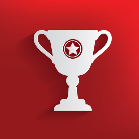 Trophy design on red background,clean vector Vector