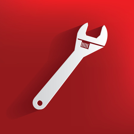 mending: Repair design on red background,clean vector Illustration