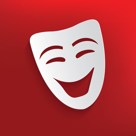 Smile mask design on red background,clean vector Vector