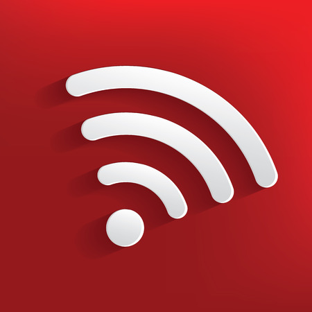 oftware: Wireless design on red background,clean vector Illustration