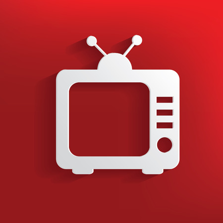 TV design on red background,clean vector Vector