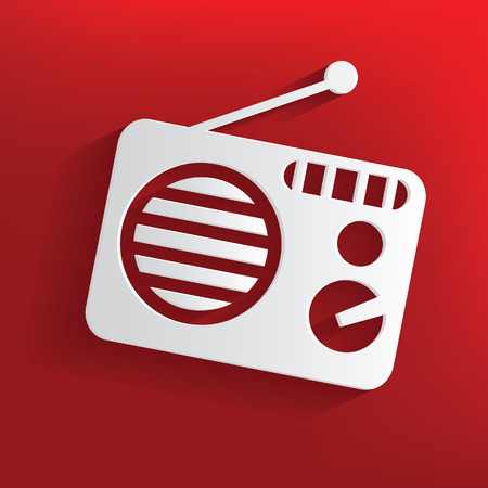 Radio design on red background,clean vector Vector