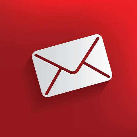 Email design on red background,clean vector Illustration