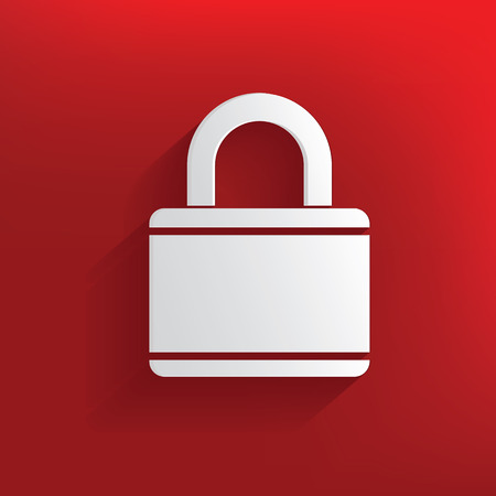 Lock design on red background,clean vector Vector