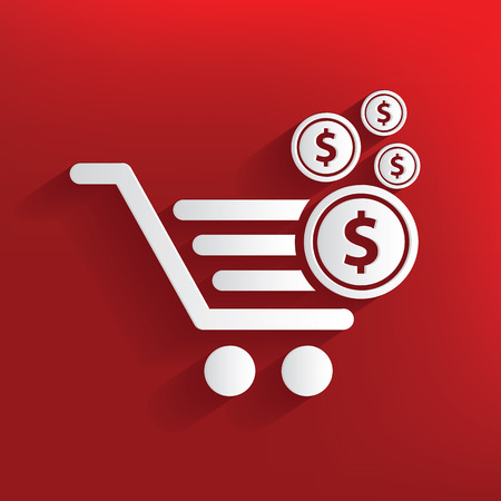 red retail: Shopping cart design on red background,clean vector