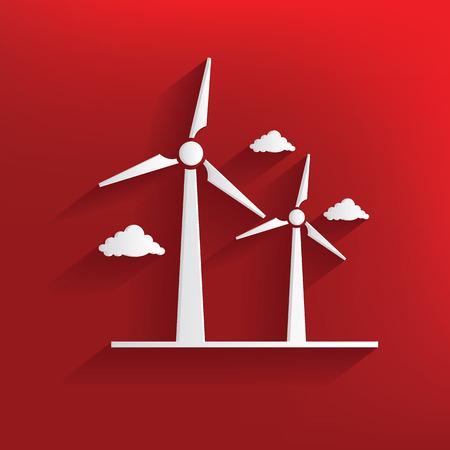 windfarm: Turbina eolica disegno su sfondo rosso, vettore pulito