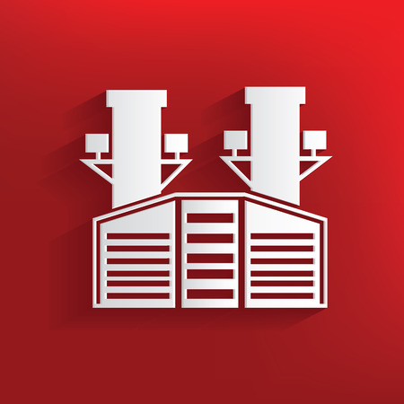 distill: Heavy industry design on red background,clean vector
