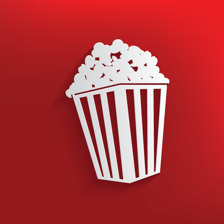 Popcorn design on red background,clean vector Vector