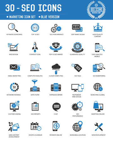 SEO & Marketing technology icons on white background,Blue version,clean vector Vector
