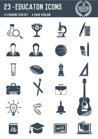 Education icons on white background,Dark version,clean vector Vector