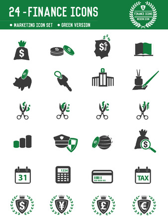 24 Financial icons on white background,green version,clean vector Vector