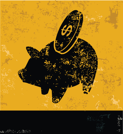 Piggy bank symbol on grunge yellow background,grunge vector Vector