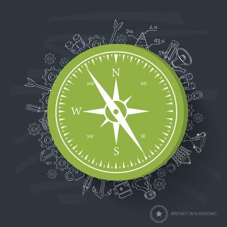 Compass design on blackboard background,clean vector Vector