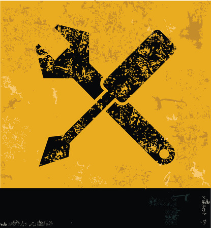 reconditioning: Repair symbol on grunge yellow background,grunge vector