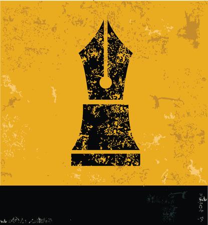 Pen symbol on grunge yellow background,grunge vector Vector