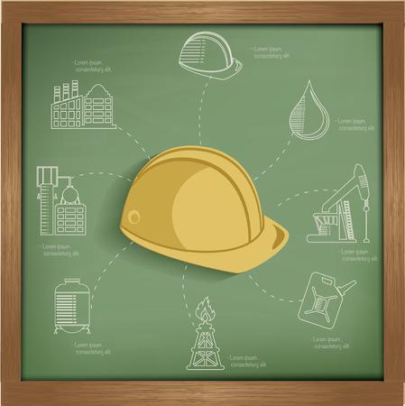 Construction concept design on blackboard background,clean vector Vector